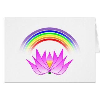 Gruß-Karten-horizontaler Regenbogen u. Lotos-Blume Karte