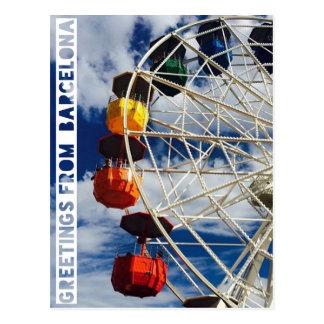 Grüße von Barcelona, postard mit ferris whee Postkarte
