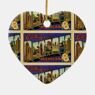 Grüße von Vintager Postkarte Detroits Michigan Keramik Herz-Ornament