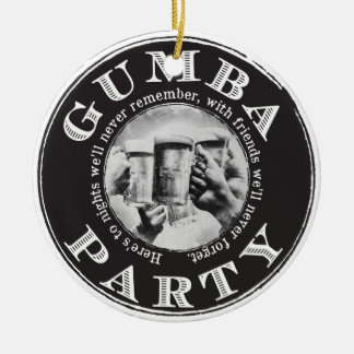 Gumba Party - schwarzes Logo Rundes Keramik Ornament