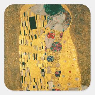 Gustav Klimt das Kuss-Kunst Nouveau Jugendstil Quadratischer Aufkleber