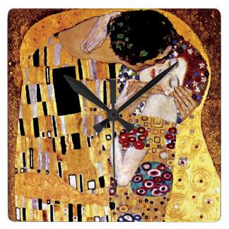Gustav Klimt - der Kuss - Vintage Kunst Nouveau Quadratische Wanduhr