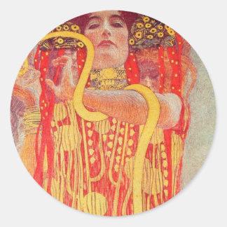 Gustav Klimt - Medizin Runde Aufkleber