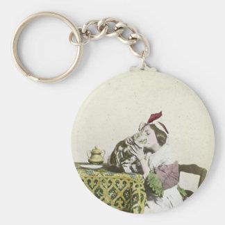 Gute Kitty-Tee-Zeit-Vintages viktorianisches Schlüsselanhänger