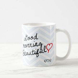 Gutenmorgen schön! Hellblaues Zickzack Muster Tasse