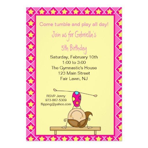 Gymnastik-Strichmännchen-Geburtstags-Einladung