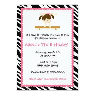 Gymnastischer Mädchen-Geburtstags-Party 12,7 X 17,8 Cm Einladungskarte