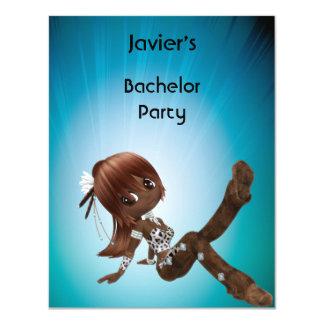 Haar-Mädchen-Blau des Junggeselle-Party-S… exy 10,8 X 14 Cm Einladungskarte