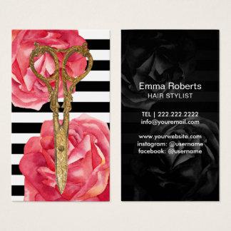 Haar-Salon-Gold Scissor u. Rosen-moderne Streifen Visitenkarten
