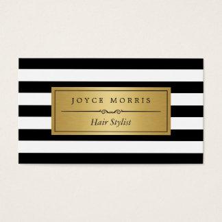 Haar-Stylist - klassische Schwarz-weiße Streifen Visitenkarten