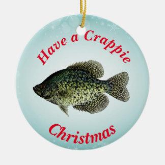 """""""Haben Sie ein Crappie-Weihnachten,"""" schwarzen Rundes Keramik Ornament"""
