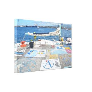 Hafen-Malereien in den Azoren Galerie Faltleinwand