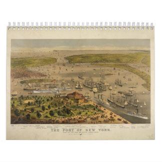 Hafen von New York durch Ives im Jahre 1878 Wandkalender