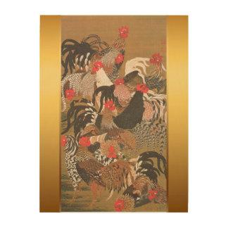 Hahn-neues Jahr 2017 mit japanischer Malerei Holzleinwände