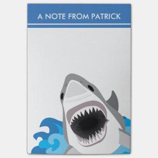 Haifisch-Angriff - Weißer Hai mit offenen Kiefern Post-it Klebezettel