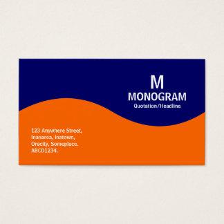 Halbwellenmonogramm - Orange mit dunkelblauen Visitenkarte