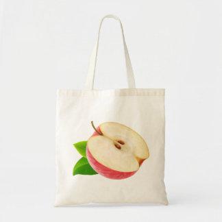 Hälfte des roten Apfels Tragetasche