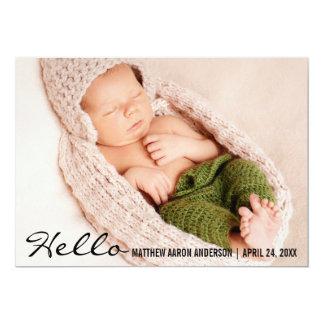 Hallo Baby-Geburts-Foto-Mitteilungs-Karte B 12,7 X 17,8 Cm Einladungskarte