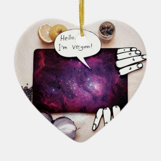 Hallo, bin ich vegan keramik Herz-Ornament