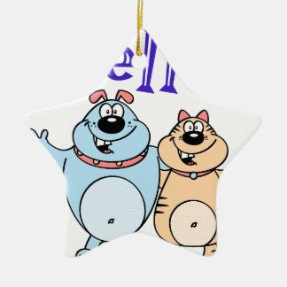 hallo, Entwurf mit zwei niedlicher Cartoons Keramik Stern-Ornament