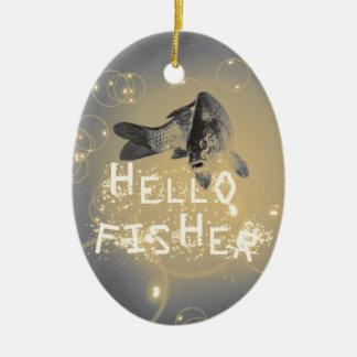 Hallo Fischer Ovales Keramik Ornament