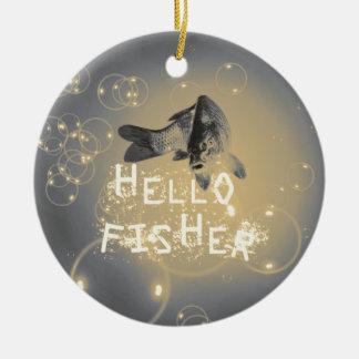 Hallo Fischer Rundes Keramik Ornament