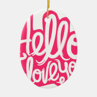 Hallo i-Liebe Sie Ovales Keramik Ornament
