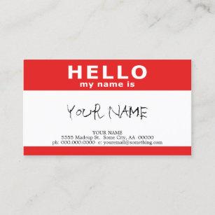 hallo ist mein Name roter Namensschild Visitenkarte