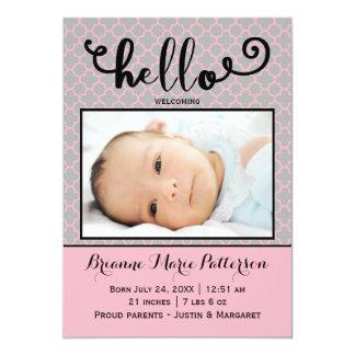 hallo rosa Foto - Geburts-Mitteilung Karte