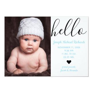 Hallo Skript-Foto - Geburts-Mitteilung Karte