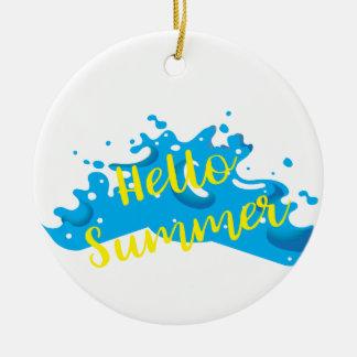 Hallo Sommer, Wellen-Grafik, cooles Weiß Rundes Keramik Ornament