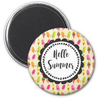 Hallo SommerPopsicles und Eiscreme-Typografie Runder Magnet 5,7 Cm