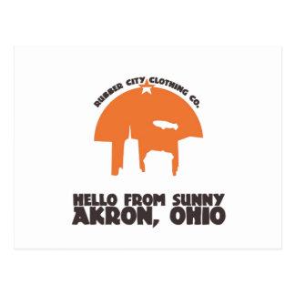 Hallo von sonnigem Akron Ohio ` Postkarte