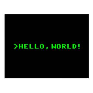 Hallo Weltcomputer-Programmierung Postkarte