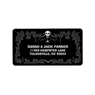 Halloween-Adressen-Etikett - schwarzer u. weißer Adressaufkleber