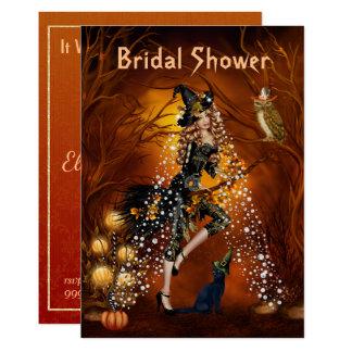 Halloween-Brautparty-Einladung mit Hexe Karte