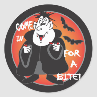 Halloween-Cartoon Dracula Runder Aufkleber