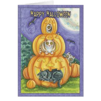 Halloween-Karte mit Katzen in den Kürbisen Karte