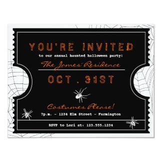 Halloween-Karte mit Spinnen-Netz-Party Einladung