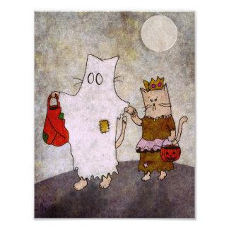 Halloween-Katzen-Kunst-Plakat Fotodruck