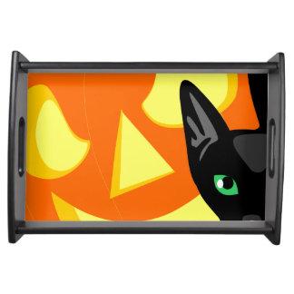 Halloween-Katzen-Kürbisbehälter Tablett
