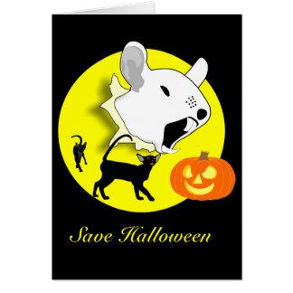 Halloween-Kürbis-Maus und Katzen-Karte Karte