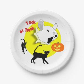 Halloween-Kürbis-Maus und Katzen Pappteller
