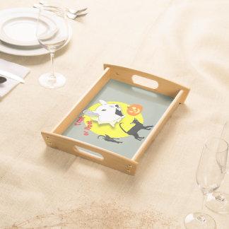 Halloween-Kürbis-Mäuse- und Katzen-Serviertablett Tablett