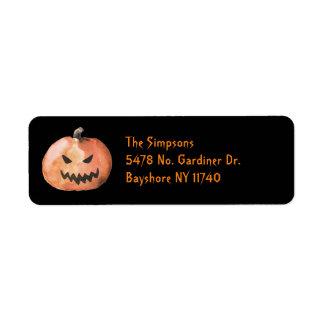 Halloween-Kürbis-Schwarz-Adressen-Etiketten Rücksendeetikett