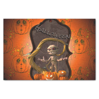 Halloween, lustige Mama mit Kürbis Seidenpapier