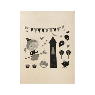 Halloween-Plakat für Kinder Holzposter