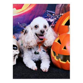 Halloween - Pudel - Transportwagen Postkarte