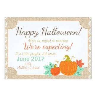 Halloween-Schwangerschaftsmitteilung Kürbis 12,7 X 17,8 Cm Einladungskarte