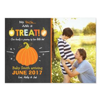 Halloween-Schwangerschaftsmitteilung Trick oder 12,7 X 17,8 Cm Einladungskarte